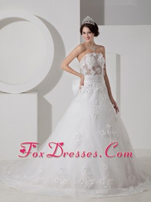 A-line Strapless Wedding Dress Court Train Tulle Beading