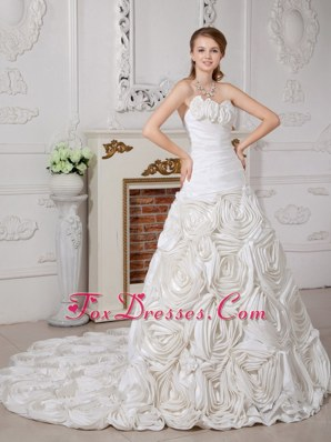 Flower Ruched Beautiful Wedding Dress Court Train A-line