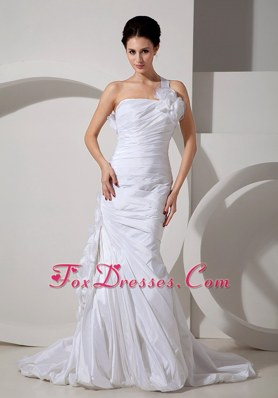 Mermaid Ruched Court Hand Made Flowers Brush Wedding Dress One Shoulder