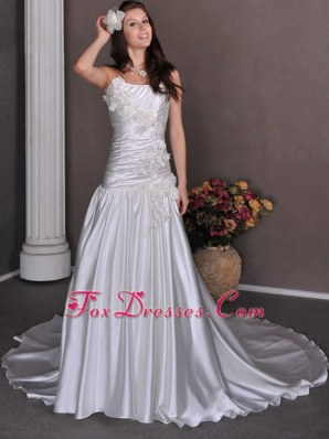 A-line Ruched Strapless Chapel Train Wedding Dress Hand Made Flower