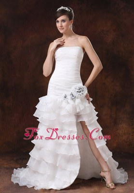 High Slit Ruffles Brush Sweep Ruched Wedding Dress with Hand Made Flower