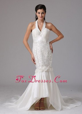Mermaid Halter Top Sequins Backless Wedding Dress Beading 2013