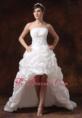 Taffeta High-low Strapless Beading 2013 Wedding Dress