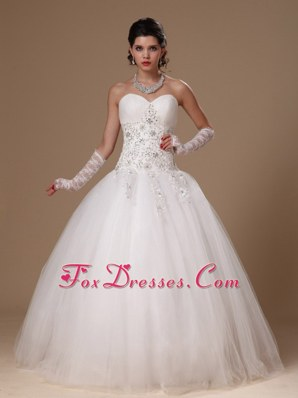 New Arrival Beaded Appliques Tulle Church Wedding Bridal Gown