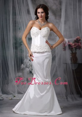 Sweet Mermaid Lace Wedding Dress Brush Train Taffeta Sweetheart