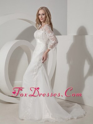 V-neck Long Sleeves Lace Wedding Dress Chapel Train Organza