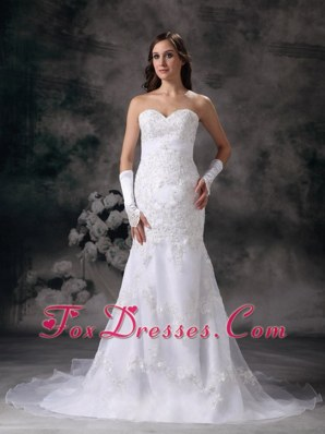 Mermaid Embroidery Wedding Dress Chapel Train Organza Beaded