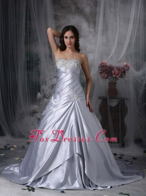 Silver New Arrival Beaded Taffeta Wedding Dress Court Train