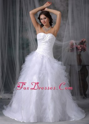 Ruffles Court Train Taffeta and Tulle 2013 New Wedding Dress