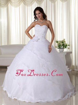 Organza Beading Ball Gown Layered Flowers Wedding Dresses