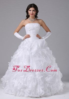 Strapless Ball Gown Ruffles Wedding Dress 2013 New Arrival
