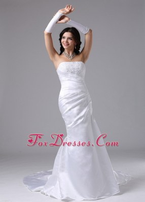 Romantic Mermaid Ruched Wedding Bridal Dress Brush Train