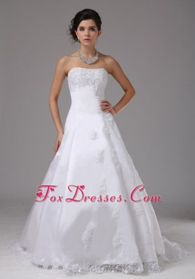2013 New Arrival Lace Wedding Dress Strapless Brush Train