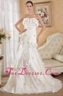 Hand Made Flowers Lace and Taffeta Wedding Dress Court Train