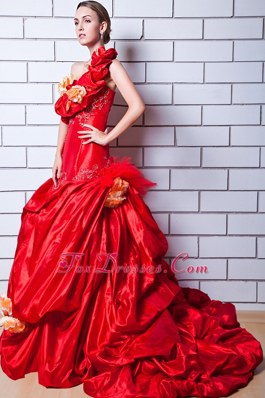 Red One Shoulder Appliques Hand Flowers Wedding Dress Train