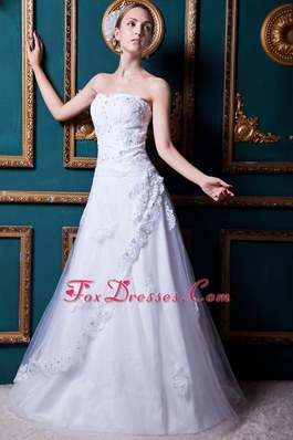Appliques Bridal Gowns Tulle and Taffeta Wedding Dress 2013