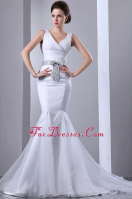 V-neck Mermaid Sequined Bow Wedding Dress Court Train