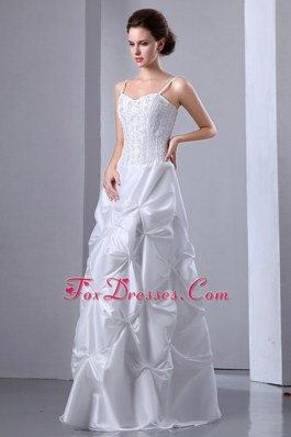 Spaghetti Straps Beading and Pick-ups Wedding Dress Taffeta