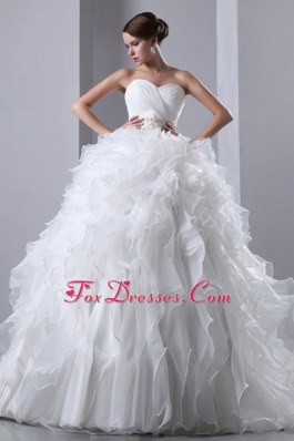 Ruffles Wedding Bridal Dress Chapel Train Beading Ruched