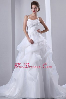 Beaded Spaghetti Straps Court Train Appliques Wedding Dress
