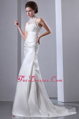 Lace High-neck Court Train Taffeta 2013 Wedding Dress