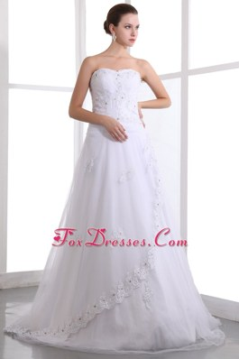 Beading Wedding Dresses Brush Train Appliques Layers