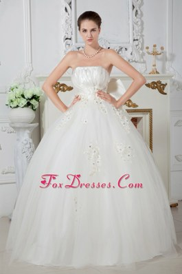 Bowknot Wedding Dress Strapless Tulle Beading Ball Gown