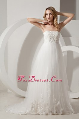 A-line Lace Appliques Brush Train Wedding Dress Cheap