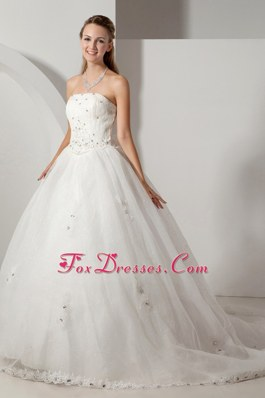 Court Train Chapel Train Organza Beading Wedding Dress