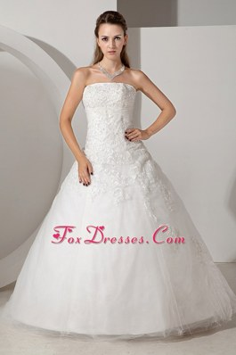 2013 Layered Tulle Wedding Dress Chapel Train Appliques