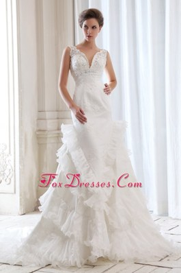 Mermaid V-neck Organza Beaded Appliques Ruffled Wedding Dress