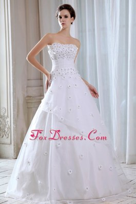 Brand New Flowers Wedding Dress Bridal Gowns Tulle Appliques