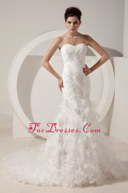 Mermaid Layers Court Train Organza Beading Wedding Dress