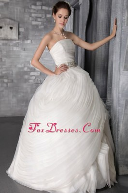 Organza Ruffles Sashed Wedding Dress 2013 Bridal Gowns