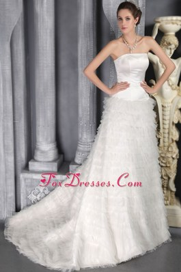 Layered Sweep Train Satin and Tulle Ruffles Wedding Dress