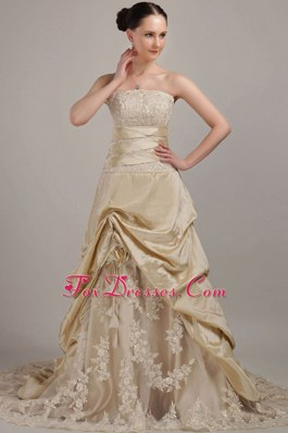 Champagne Taffeta Wedding Dress with Train