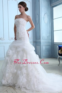 Mermaid Organza Appliques Bridal Dress Court Train Flower