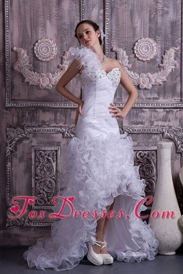 One Shoulder High-low Wedding Dress Ruffled Organza Beaded