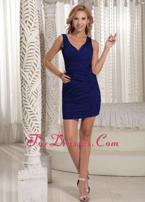Mini-length Royal Blue V-neck Ruche NightclubCocktail Dress