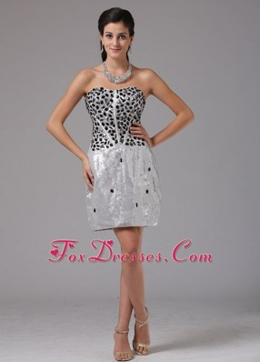 Strapless Sliver RhineStones NightclubGraduation Dress Mini-length