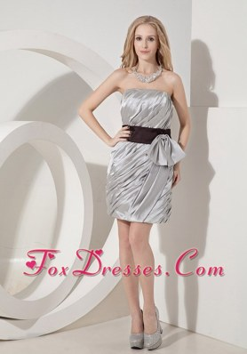 Grey Mini-length NightclubGraduation Dress Column Strapless Bow