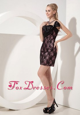 Strapless Black Bow Mini-length Lace NightclubGraduation Dress