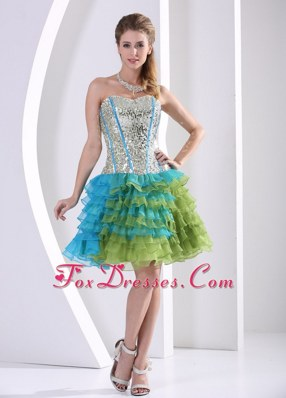 Multi-color NightclubGraduation Dress Ruched Layered Beaded Print