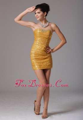 2013 Gold Paillette Over Skirt NightclubHomecoming Dress Beading