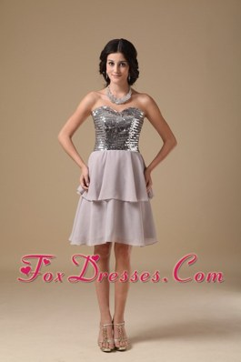 Grey Sweetheart Mini-length Sequin NightclubHomecoming Dress