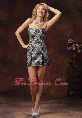 Black Sweetheart Special Fabric NightclubCocktail Dress