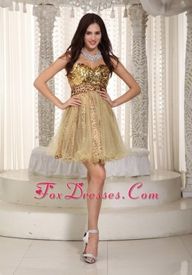 Champagne Sweetheart Sequined Leopard NightclubCocktail Dress