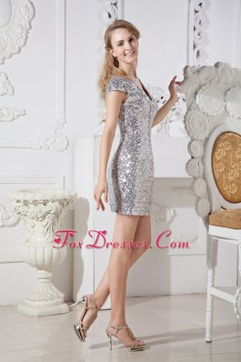 V-neck Sliver Mini-length Sequin NightclubGraduation Dress
