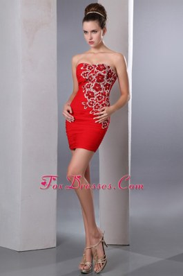 Red Sweetheart NightclubGraduation Dress Beading Applique