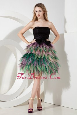 A-line Strapless Mini-length Multi-color Homecoming Dress